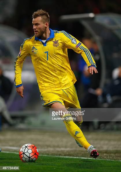 Andriy Yarmolenko of Ukraine in action during the UEFA EURO 2016 qualifier playoff second leg match between Slovenia and Ukraine at Ljudski Vrt...