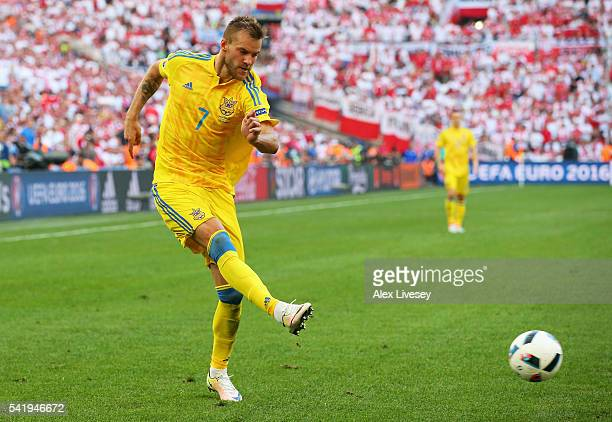 Andriy Yarmolenko of Ukraine passes the ball during the UEFA EURO 2016 Group C match between Ukraine and Poland at Stade Velodrome on June 21 2016 in...