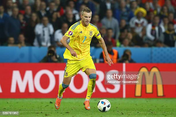 Andriy Yarmolenko of Ukraine runs with the ball during the UEFA EURO 2016 Group C match between Germany and Ukraine at Stade PierreMauroy on June 12...