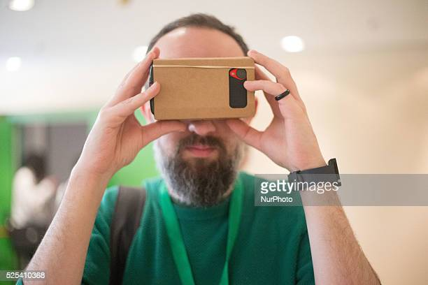 Android enthusiast is enjoying the Google Cardboard who's a Virtual Reality experience starting with a simple viewer anyone can build or buy in Turin...