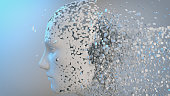 Human-like, destroyed android head made of small particles