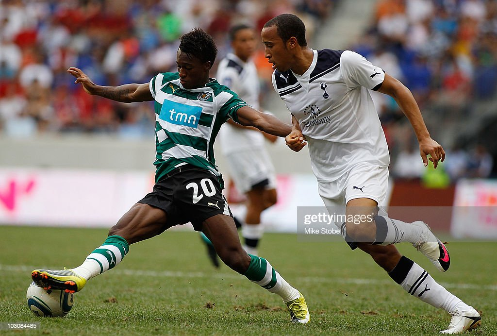 Andros Towesend #31 of Tottenham Hotspur and <a gi-track='captionPersonalityLinkClicked' href=/galleries/search?phrase=Yannick+Djalo&family=editorial&specificpeople=3684315 ng-click='$event.stopPropagation()'>Yannick Djalo</a> #20 of Sporting Lisbon battle for the ball on July 25, 2010 at Red Bulls Arena in Harrison, New Jersey. Hotspur and Lisbon played to a 2-2 tie.