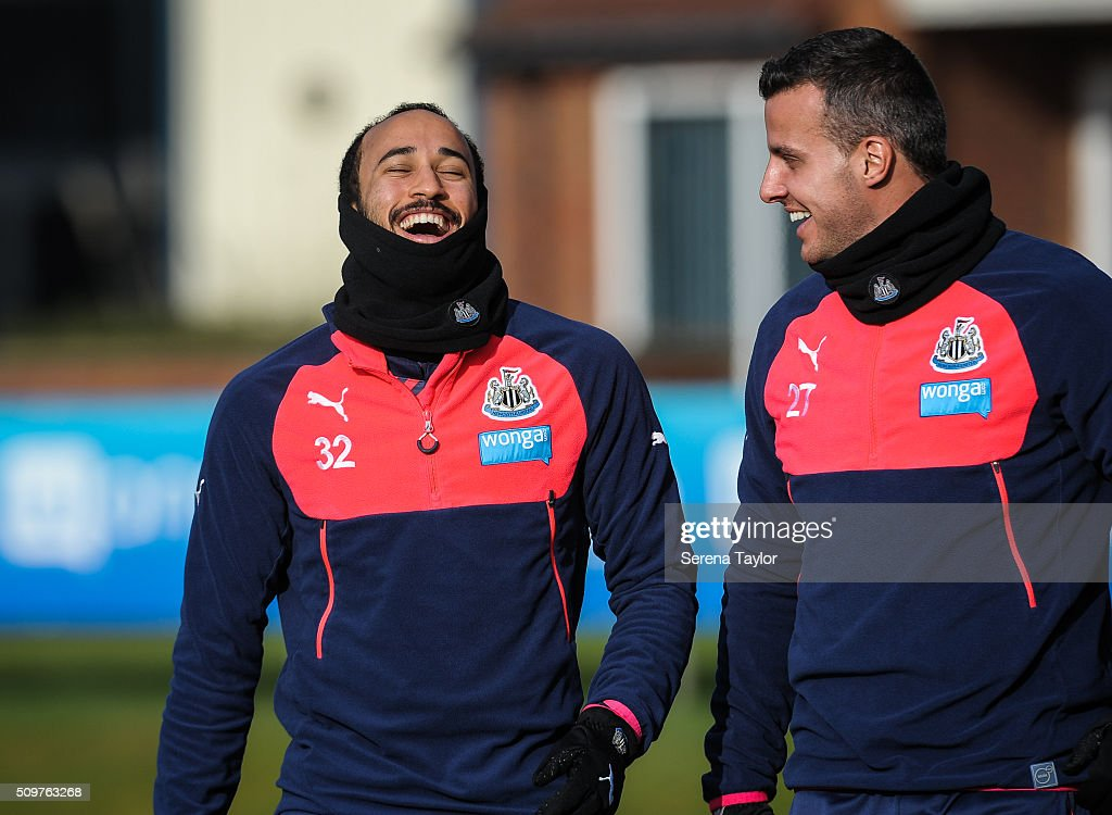 <a gi-track='captionPersonalityLinkClicked' href=/galleries/search?phrase=Andros+Townsend&family=editorial&specificpeople=4266573 ng-click='$event.stopPropagation()'>Andros Townsend</a> (L) laughs with teammate Steven Taylor (R) during the Newcastle United Training session at The Newcastle United Training Centre on February 12, 2016, in Newcastle upon Tyne, England.