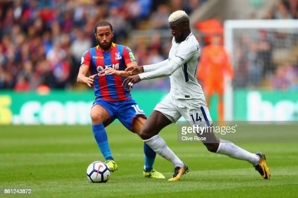 Andros Townsend of Crystal Palace and Tiemoue Bakayoko of Chelsea battle for possession during the Premier League match between Crystal Palace and...