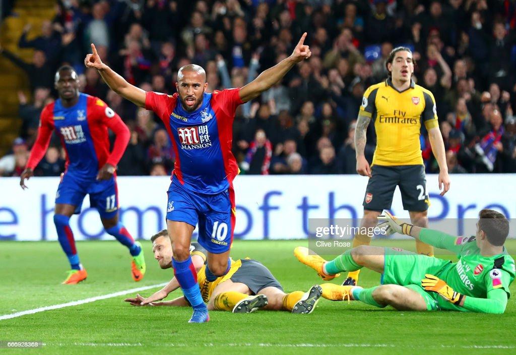 Andros Townsend of Crystal Palace (10) celebrates as he scores their first goal during the Premier League match between Crystal Palace and Arsenal at Selhurst Park on April 10, 2017 in London, England.