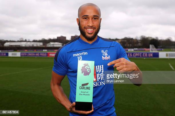 Andros Townsend of Crystal Palace is presented with the Carling Goal of the Month Award on March 29 2017 in Croydon England