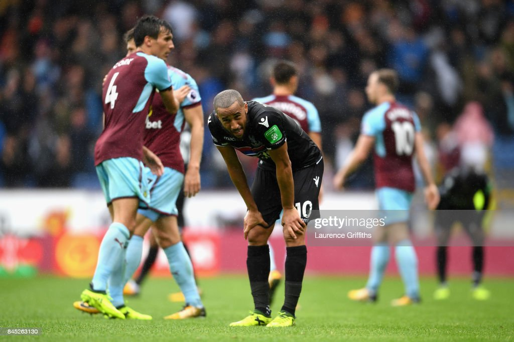 Andros Townsend of Crystal Palace looks dejected following defeat in the Premier League match between Burnley and Crystal Palace at Turf Moor on September 10, 2017 in Burnley, England.
