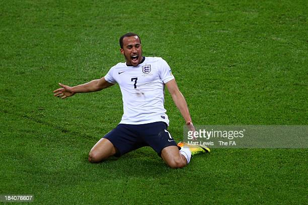 Andros Townsend of England celebrates after scoring his team's third goal during the FIFA 2014 World Cup Qualifying Group H match between England and...