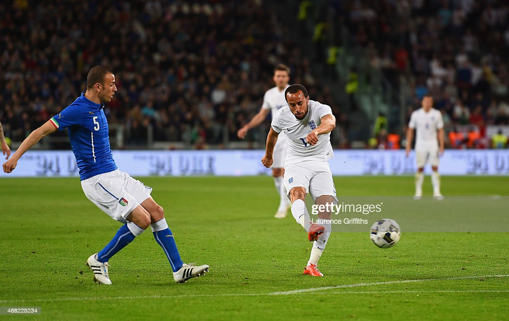 Andros Townsend of England celebrates scores their first goal during the international friendly match between Italy and England at the Juventus Arena on March 31, 2015 in Turin, Italy.