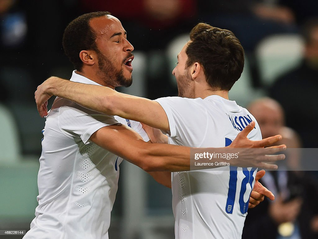 Andros Townsend of England celebrates scoring their first goal with Ryan Mason of England during the international friendly match between Italy and England at the Juventus Arena on March 31, 2015 in Turin, Italy.