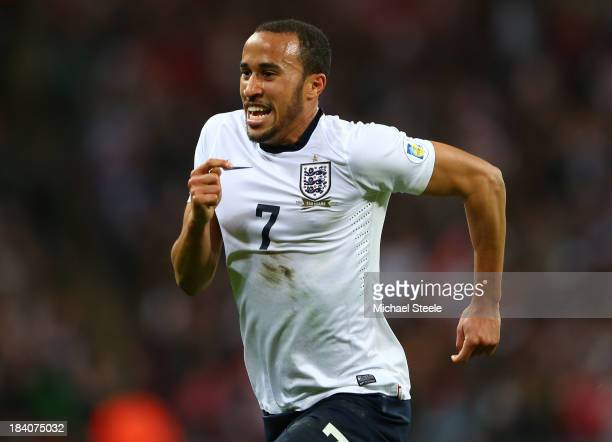 Andros Townsend of England celebrates scoring their third goal during the FIFA 2014 World Cup Qualifying Group H match between England and Montenegro...