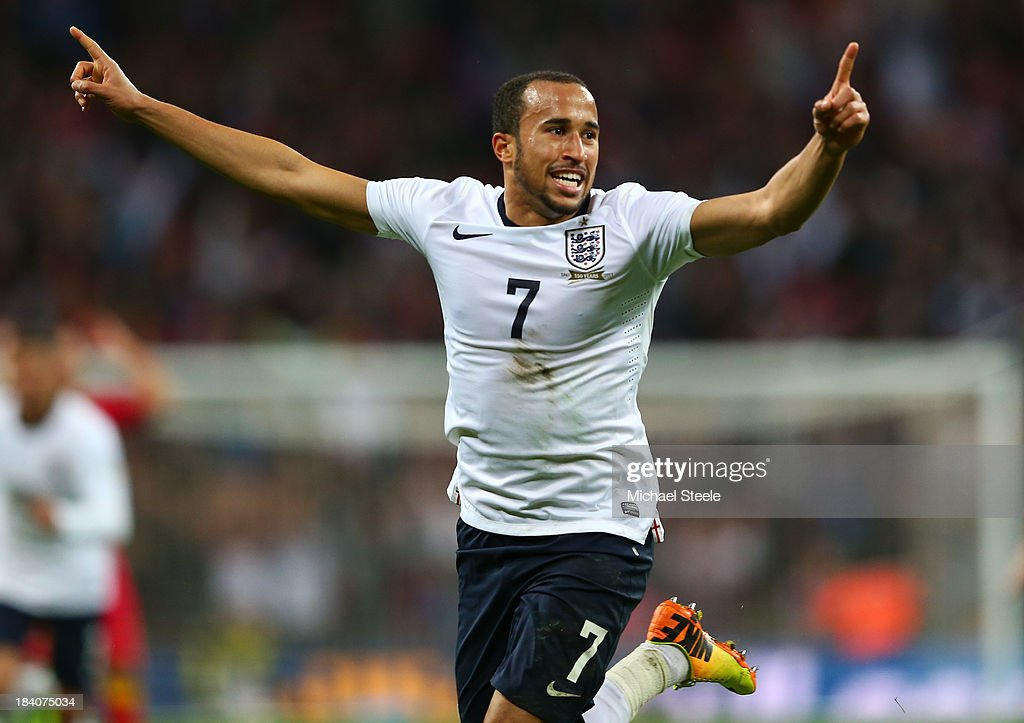 <a gi-track='captionPersonalityLinkClicked' href=/galleries/search?phrase=Andros+Townsend&family=editorial&specificpeople=4266573 ng-click='$event.stopPropagation()'>Andros Townsend</a> of England celebrates scoring their third goal during the FIFA 2014 World Cup Qualifying Group H match between England and Montenegro at Wembley Stadium on October 11, 2013 in London, England.