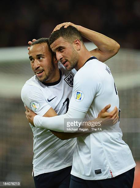 Andros Townsend of England celebrates with Kyle Walker of England after scoring his team's third goal during the FIFA 2014 World Cup Qualifying Group...