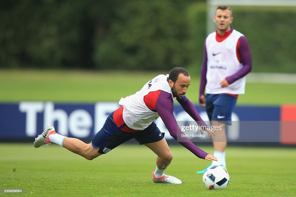 <a gi-track='captionPersonalityLinkClicked' href=/galleries/search?phrase=Andros+Townsend&family=editorial&specificpeople=4266573 ng-click='$event.stopPropagation()'>Andros Townsend</a> of England in action during an England training session at London Colney on May 30, 2016 near St Albans, England.