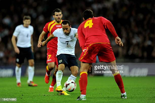 Andros Townsend of England scores his team's third goal during the FIFA 2014 World Cup Qualifying Group H match between England and Montenegro at...