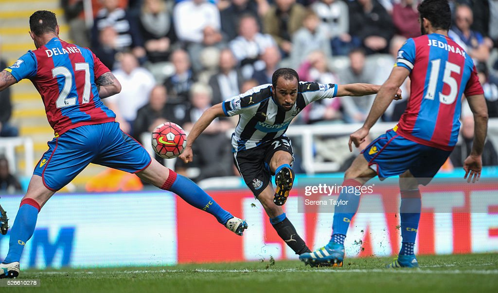<a gi-track='captionPersonalityLinkClicked' href=/galleries/search?phrase=Andros+Townsend&family=editorial&specificpeople=4266573 ng-click='$event.stopPropagation()'>Andros Townsend</a> of Newcastle strikes the ball during the Barclays Premier League match between Newcastle United and Crystal Palace at St.James' Park on April 30, 2016, in Newcastle upon Tyne, England.