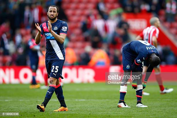 Andros Townsend of Newcastle United applauds away supporters after his team's 13 defeat in the Barclays Premier League match between Southampton and...