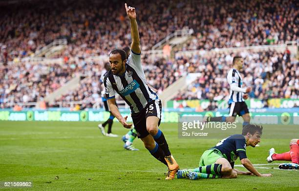 Andros Townsend of Newcastle United celebrates scoring his team's third goal during the Barclays Premier League match between Newcastle United and...