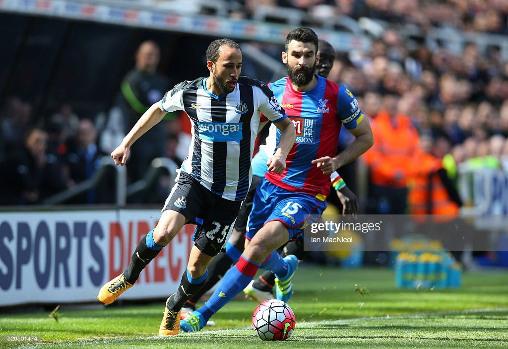 Andros Townsend of Newcastle United in action during the Barclays Premier League match between Newcastle United and Crystal Palace at St James' Park on April 30, 2016 in Newcastle upon Tyne, England.