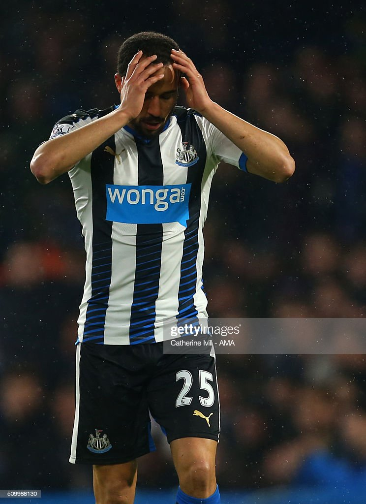 <a gi-track='captionPersonalityLinkClicked' href=/galleries/search?phrase=Andros+Townsend&family=editorial&specificpeople=4266573 ng-click='$event.stopPropagation()'>Andros Townsend</a> of Newcastle United reacts during the Barclays Premier League match between Chelsea and Newcastle United at Stamford Bridge on February 13, 2016 in London, England.