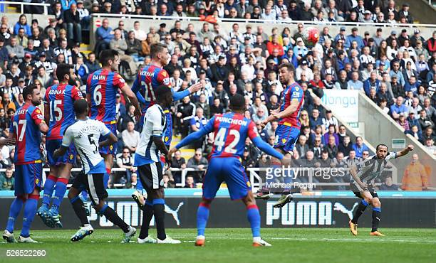 Andros Townsend of Newcastle United scores his team's first goal during the Barclays Premier League match between Newcastle United and Crystal Palace...
