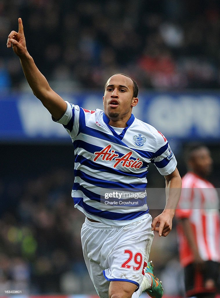 Andros Townsend of Queens Park Rangers celerates scoring their second goal during the Barclays Premier League match between Queens Park Rangers and Sunderland at Loftus Road on March 9, 2013 in London, England.