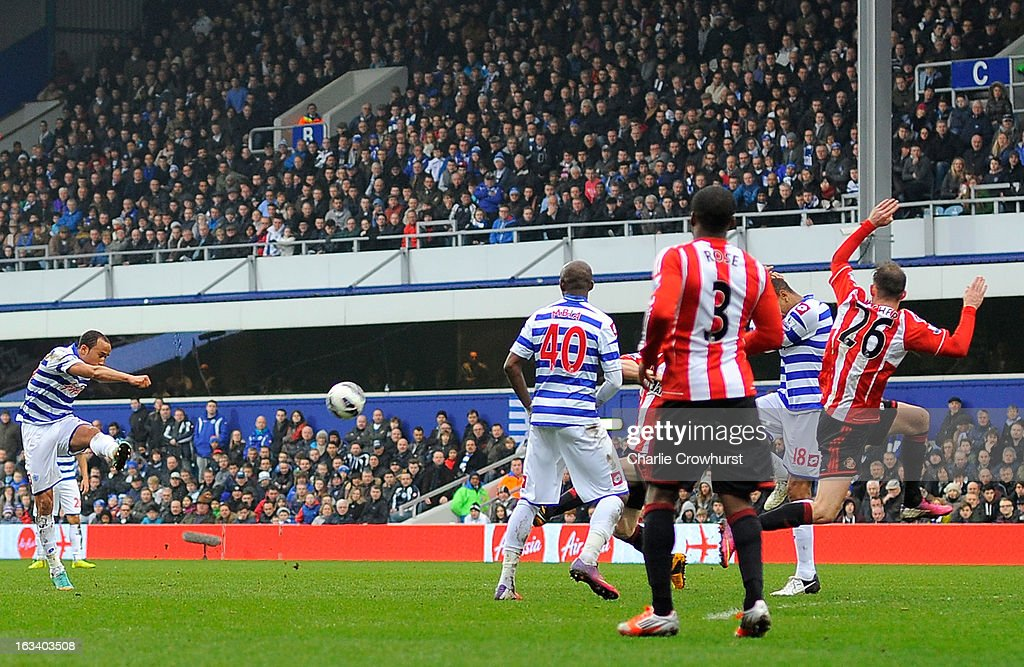 Andros Townsend of Queens Park Rangers scores their second goal during the Barclays Premier League match between Queens Park Rangers and Sunderland at Loftus Road on March 9, 2013 in London, England.