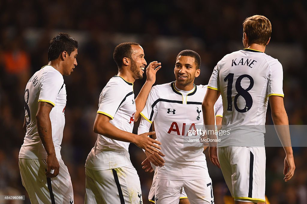 Andros Townsend of Spurs celebrates scoring theiur third goal from the penalty spot with Aaron Lennon, Paulinho and Harry Kane of Spurs during the UEFA Europa League Qualifying Play-Offs Round Second Leg match between Tottenham Hotspur and AEL Limassol FC on August 28, 2014 in London, United Kingdom.
