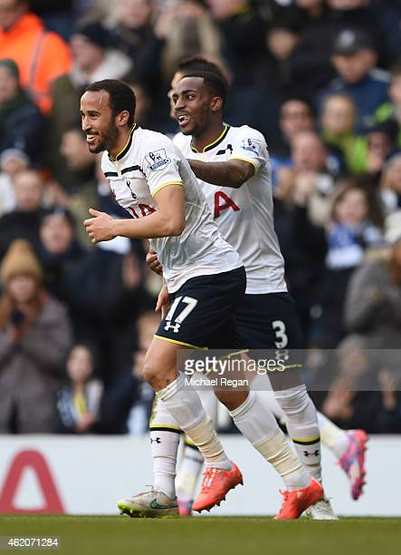 Andros Townsend of Spurs is congratulated by teammate Danny Rose of Spurs after scoring the opening goal from the penalty spot during the FA Cup...