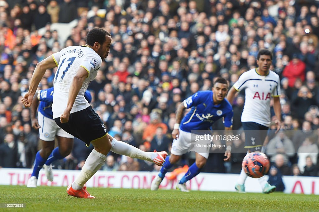 <a gi-track='captionPersonalityLinkClicked' href=/galleries/search?phrase=Andros+Townsend&family=editorial&specificpeople=4266573 ng-click='$event.stopPropagation()'>Andros Townsend</a> of Spurs scores the opening goal from the penalty spot during the FA Cup Fourth Round match between Tottenham Hotspur and Leicester City at White Hart Lane on January 24, 2015 in London, England.