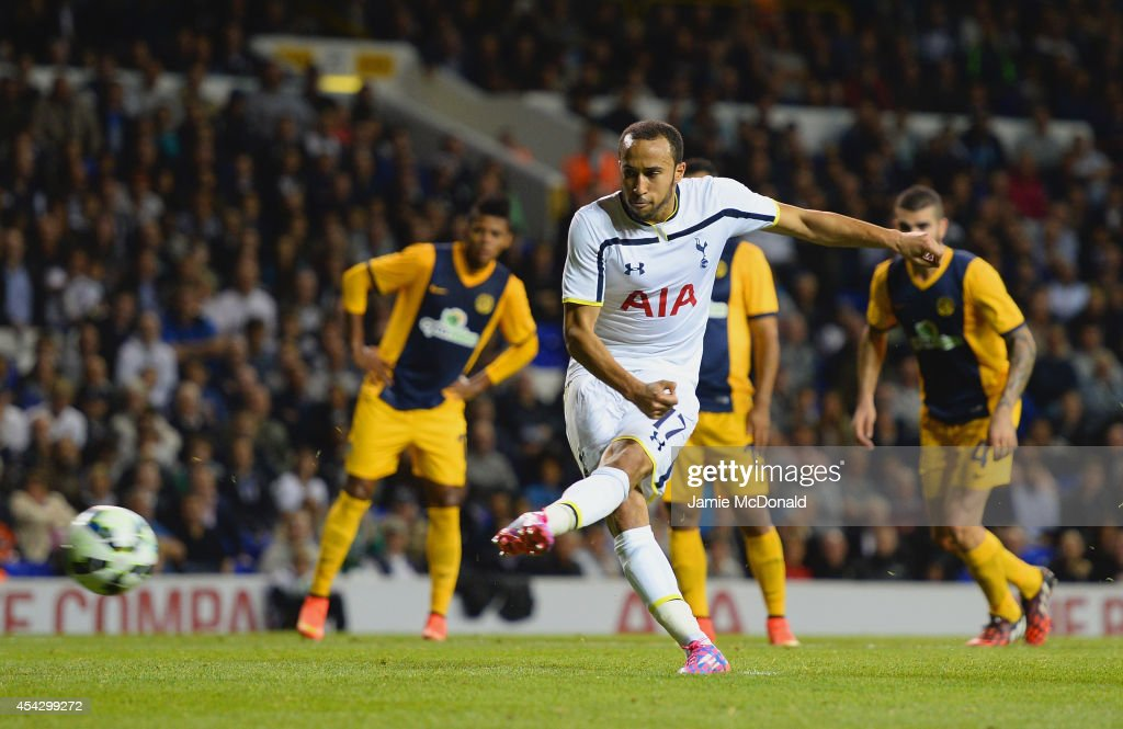 <a gi-track='captionPersonalityLinkClicked' href=/galleries/search?phrase=Andros+Townsend&family=editorial&specificpeople=4266573 ng-click='$event.stopPropagation()'>Andros Townsend</a> of Spurs scores their third goal from the penalty spot during the UEFA Europa League Qualifying Play-Offs Round Second Leg match between Tottenham Hotspur and AEL Limassol FC on August 28, 2014 in London, United Kingdom.