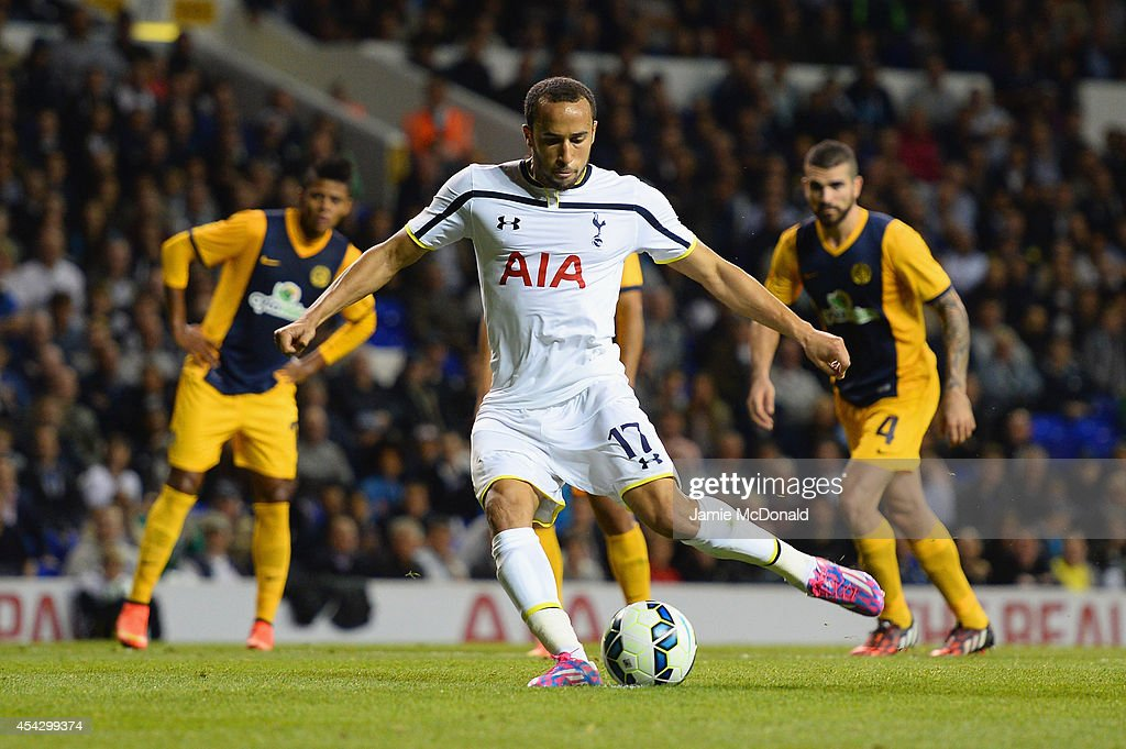 Andros Townsend of Spurs scores their third goal from the penalty spot during the UEFA Europa League Qualifying Play-Offs Round Second Leg match between Tottenham Hotspur and AEL Limassol FC on August 28, 2014 in London, United Kingdom.