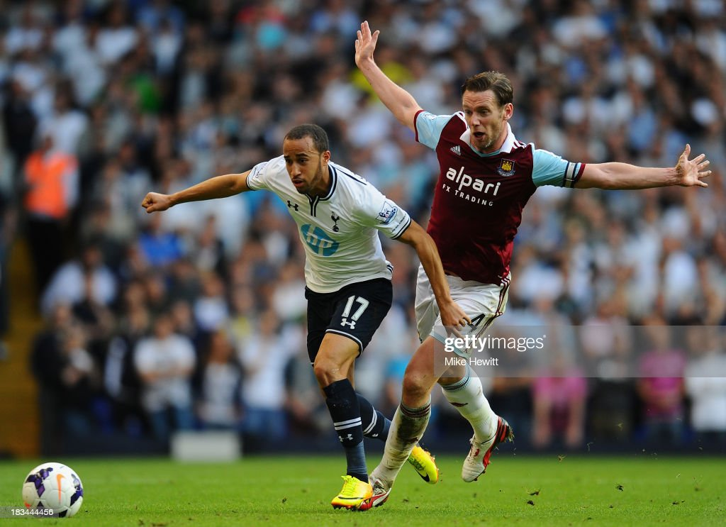 <a gi-track='captionPersonalityLinkClicked' href=/galleries/search?phrase=Andros+Townsend&family=editorial&specificpeople=4266573 ng-click='$event.stopPropagation()'>Andros Townsend</a> of Tottenham (L) evades the tackle of West Ham captain <a gi-track='captionPersonalityLinkClicked' href=/galleries/search?phrase=Kevin+Nolan&family=editorial&specificpeople=206775 ng-click='$event.stopPropagation()'>Kevin Nolan</a> during the Barclays Premier League match between Tottenham Hotspur and West Ham United at White Hart Lane on October 6, 2013 in London, England.