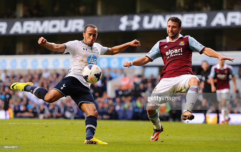 <a gi-track='captionPersonalityLinkClicked' href=/galleries/search?phrase=Andros+Townsend&family=editorial&specificpeople=4266573 ng-click='$event.stopPropagation()'>Andros Townsend</a> of Tottenham (L) shoots under pressure from <a gi-track='captionPersonalityLinkClicked' href=/galleries/search?phrase=Razvan+Rat&family=editorial&specificpeople=2147212 ng-click='$event.stopPropagation()'>Razvan Rat</a> of West Ham during the Barclays Premier League match between Tottenham Hotspur and West Ham United at White Hart Lane on October 6, 2013 in London, England.