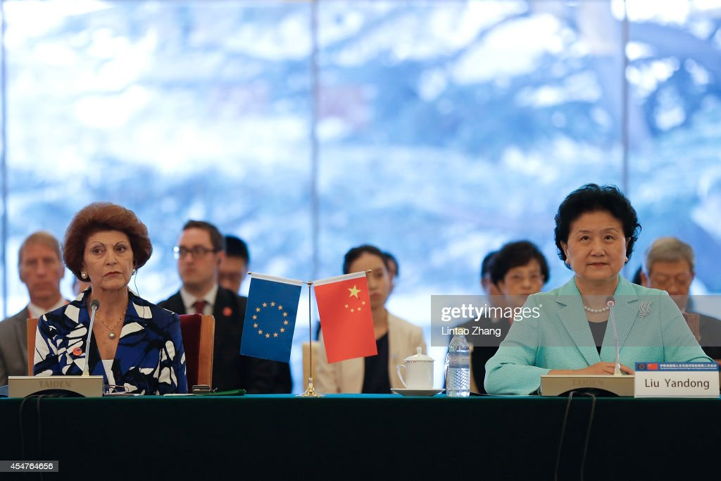 Androulla Vassiliou (L) of European Union Commissioner with Chinese Vice Premier <a gi-track='captionPersonalityLinkClicked' href=/galleries/search?phrase=Liu+Yandong&family=editorial&specificpeople=4375362 ng-click='$event.stopPropagation()'>Liu Yandong</a> (R) attends the second meeting of China-EU high-level People-to People Dialogue at Diaoyutai State Guesthouse on September 6, 2014 in Beijing, China.