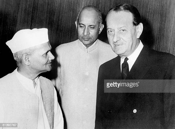 AndrT Malraux French novelist adventurer art historian and minister for cultural affairs for 11 years confers 09 August 1965 in New Delhi with...
