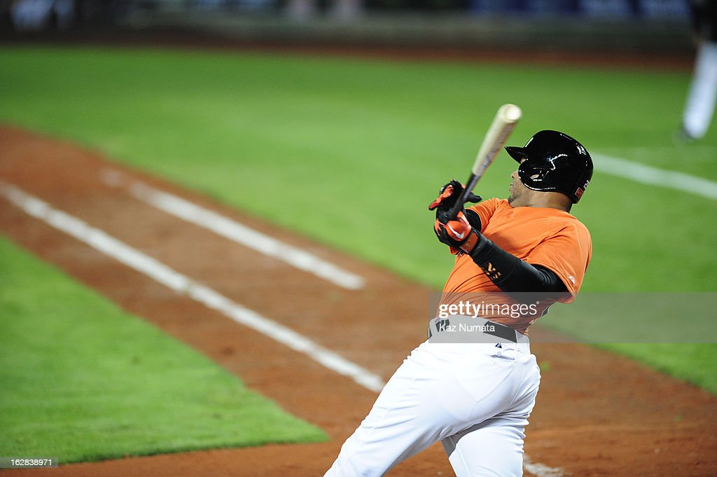 Andruw Jones #25 of Team Netherlands bats during the World Baseball Classic exhibition game against the Industrial All-Star Team at Intercontinental Stadium on Tuesday, February 26, 2013 in Taichung, Tawain.
