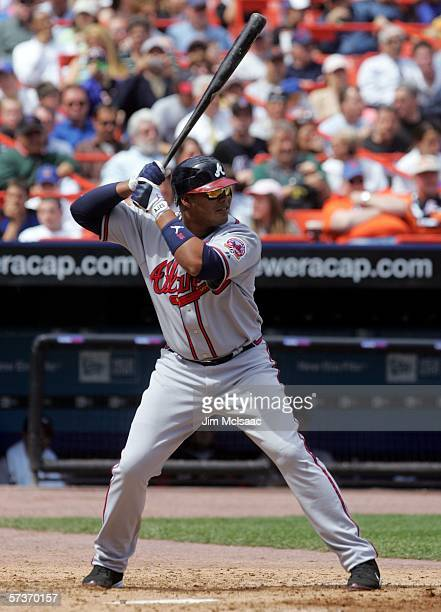 Andruw Jones of the Atlanta Braves bats against the New York Mets on April 19 2006 at Shea Stadium in the Flushing neighborhood of the Queens borough...