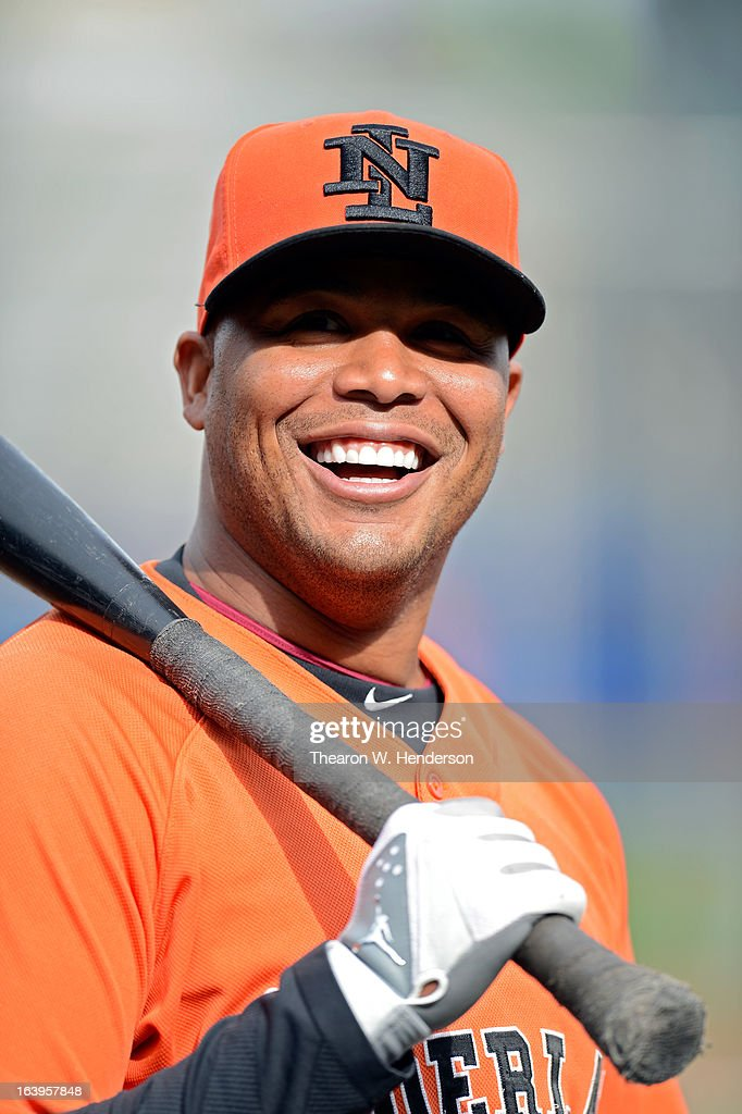 Andruw Jones #25 of the Netherlands warms up prior to playing against the Dominican Republic during the semifinal of the World Baseball Classic at AT&T Park on March 18, 2013 in San Francisco, California.