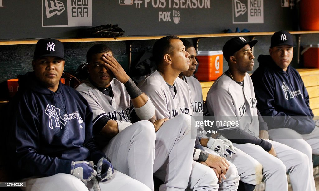 Andruw Jones #18, <a gi-track='captionPersonalityLinkClicked' href=/galleries/search?phrase=Robinson+Cano&family=editorial&specificpeople=538362 ng-click='$event.stopPropagation()'>Robinson Cano</a> #24, Alex Rodriguez #13, <a gi-track='captionPersonalityLinkClicked' href=/galleries/search?phrase=Curtis+Granderson&family=editorial&specificpeople=546997 ng-click='$event.stopPropagation()'>Curtis Granderson</a> #14 of the New York Yankee reacts after the Tigers took a 5-4 lead in the ninth inning during the game against the Detroit Tigers at Comerica Park on October 3, 2011 in Detroit, Michigan. The Tigers defeated the Yankees 5-4.
