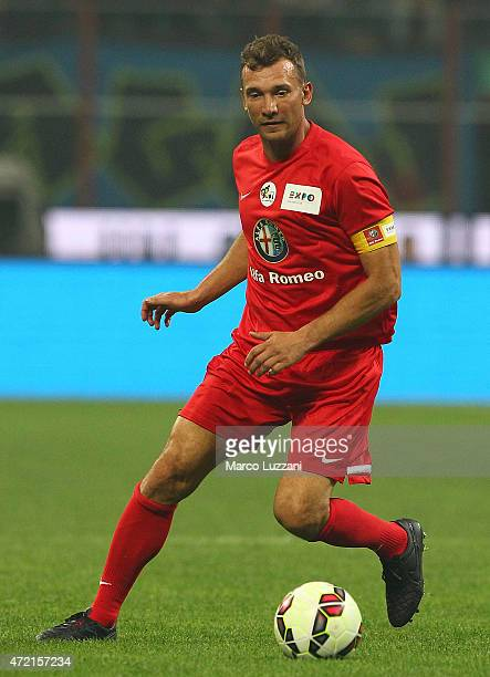 Andryi Shevchenko in action during the Zanetti and friends Match for Expo 2015 at Stadio Giuseppe Meazza on May 4 2015 in Milan Italy