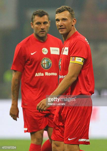 Andryi Shevchenko looks on during the Zanetti and friends Match for Expo 2015 at Stadio Giuseppe Meazza on May 4 2015 in Milan Italy