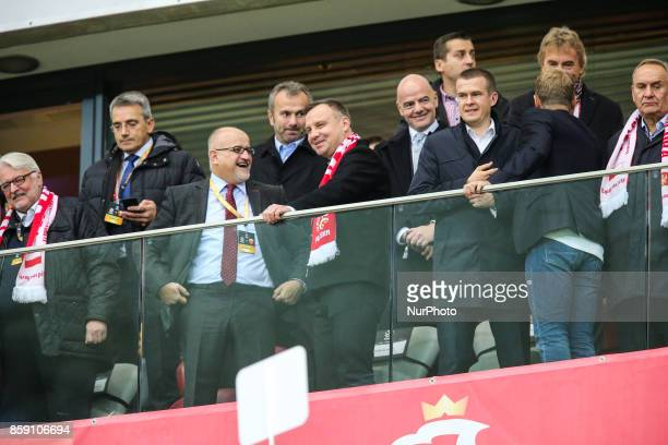 Andrzej Duda Gianni Infantino Witold Banka Zbigniew Boniek during Poland and Montenegro World Cup 2018 qualifier match in Warsaw Poland on 8 October...