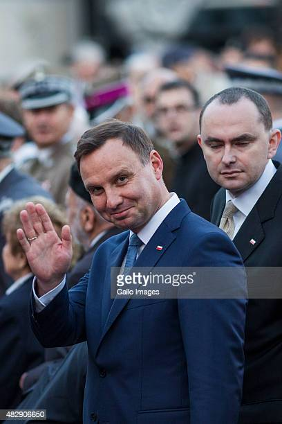 Andrzej Duda greets journalists during the celebration of 71th anniversary of the Warsaw Uprising on July 31 2015 in Warsaw Poland The Warsaw...