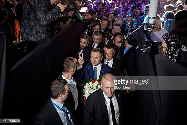 Andrzej Duda Polish opposition Law Justice Party candidate flashes a victory sign in Warsaw Poland on Sunday May 24 2015 Polish opposition candidate...