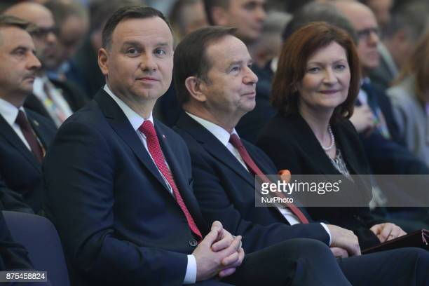 Andrzej Duda President of Poland Wladyslaw Ortyl the Marshal of the Podkarpackie Voivodeship and Ewa Leniart Governor of Podkarpackie Province at...