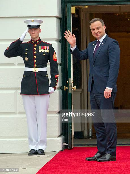 Andrzej Duda President of the Republic of Poland right arrives for the working dinner for the heads of delegations at the Nuclear Security Summit on...