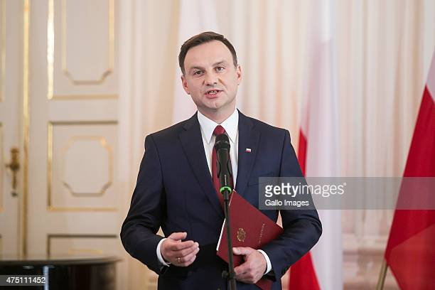 Andrzej Duda receives the official results of the presidential elections from the National Electoral Commission on May 29 2015 at Wilanow Palace in...