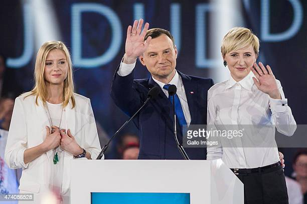 Andrzej Duda speaks to supporters at a press conference as part of his campaign on May 20 2015 in Warsaw Poland Andrzej Duda is the Law and Justice...