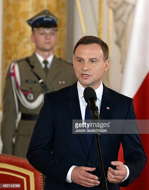 Andrzej Duda the new Polish President speaks during his inauguration ceremony at the Royal Castle in Warsaw on August 6 2015 AFP PHOTO/JANEK...